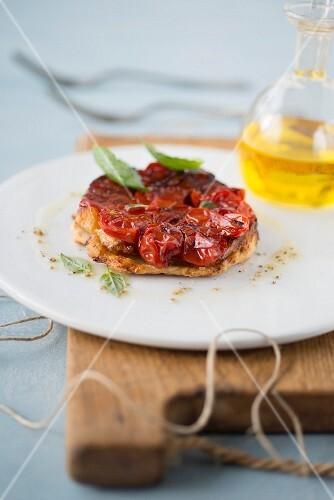 Individual cherry tomato and parmesan tatin tart