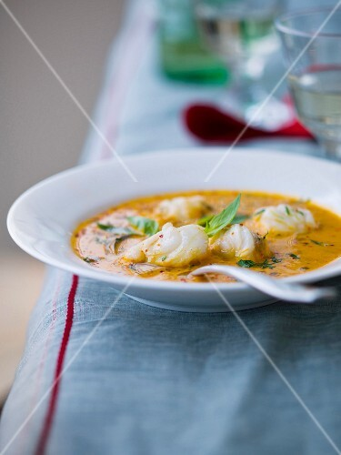 Monkfish, pepper cream and basil Nage