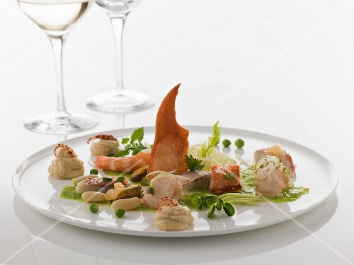 Seafood dish with artichoke puree
