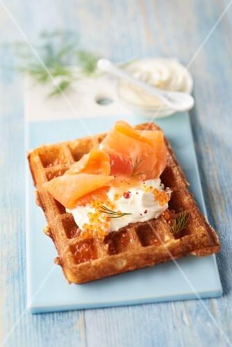 Smoked salmon Nordic waffle