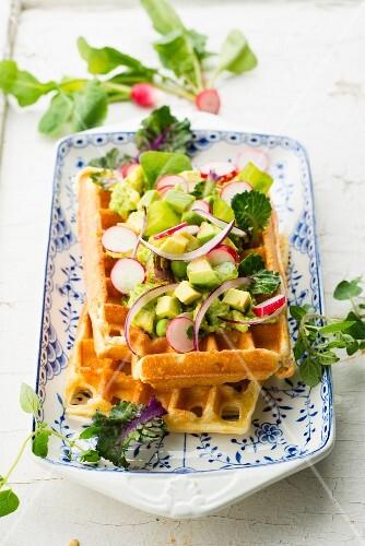 Vegetarian savoury waffle with avocado and radishes
