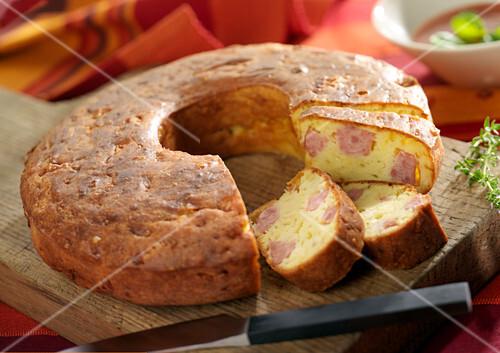 Saucisse de Morteau and Comté cheese Franc-Comtois crown cake