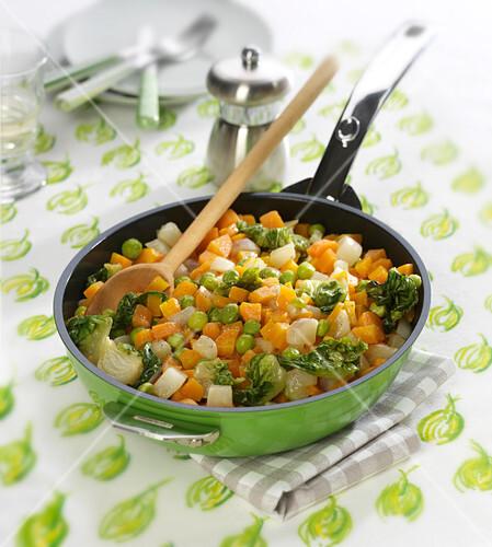 Pan-fried diced vegetables