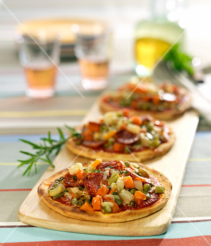 Chorizo and diced vegetable pizza