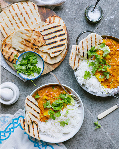 Potato Dahl, rice and Indian bread