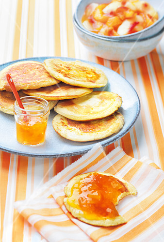 Pancakes with apricot and peach jam