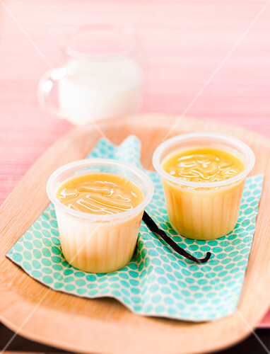 Pots of vanilla-flavored baked egg custards