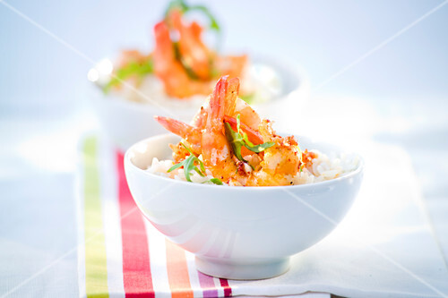 Rice with shrimps marinated in Espelette pepper