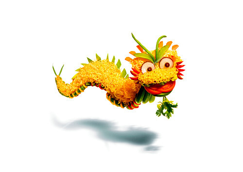 Asian dragon made with food products