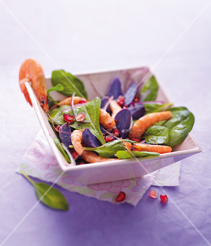Spinach,purple potato and shrimp salad