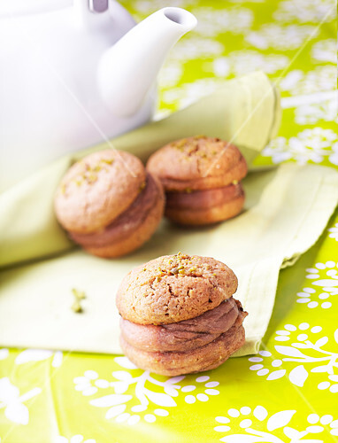 Milk chocolate whoopie pies with crushed pistachios