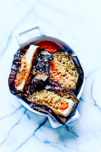 Confit eggplants with Hallumi cheese in breadcrumbs,tomato coulis