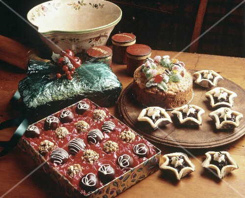 Assortment of Christmas baked Goods and Box of Chocolate Candies