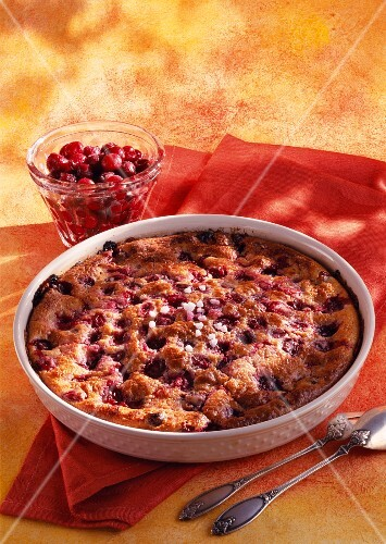 Sour griotte cherry batter pudding