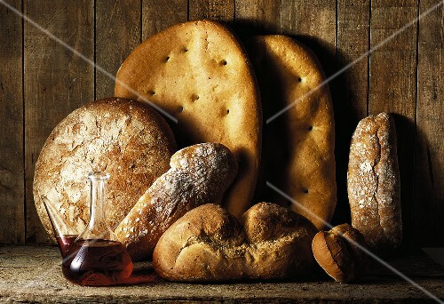 bread and red wine