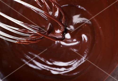melted chocolate with whisk
