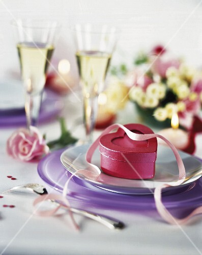 Romantic table set for two