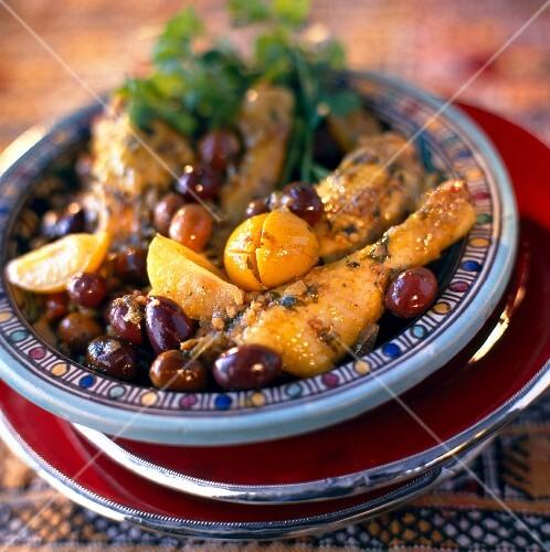 Chicken, lemon and olive Tajine