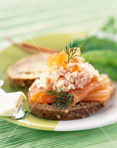 Smoked salmon and potted meat on bread