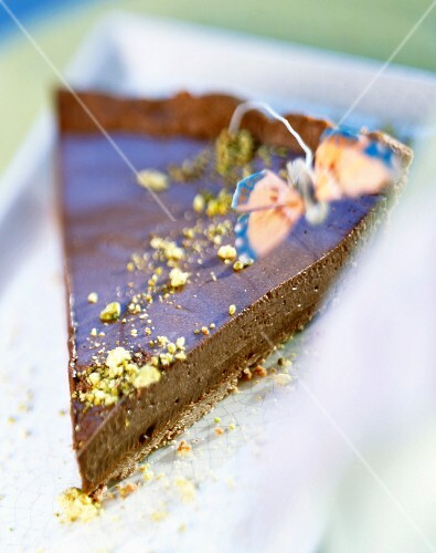 Slice of tea-flavoured chocolate tart