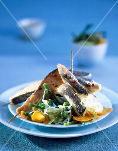 Fish Yakitori with sautéed vegetables