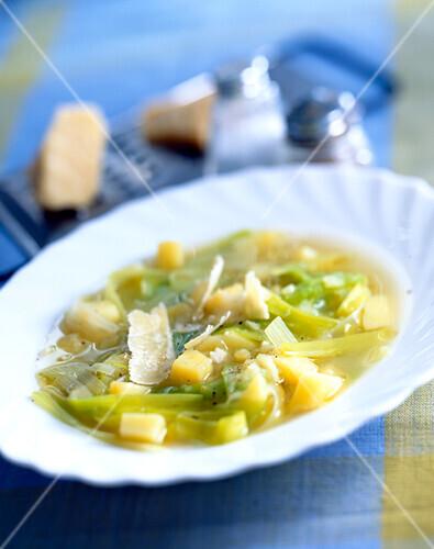 leek and potato soup with Parmesan