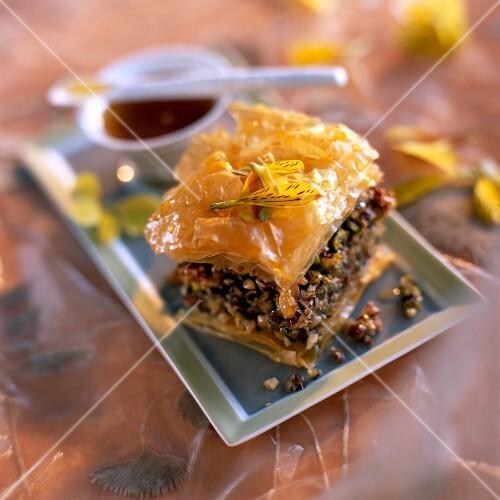 Baklava with almonds, pistachios and hazelnuts