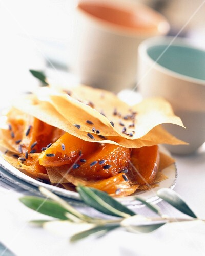 Apricot and lavender flaky pastry dessert
