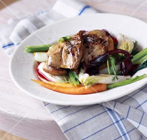 Foie gras escalope with vegetables