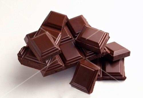 Squares of plain chocolate