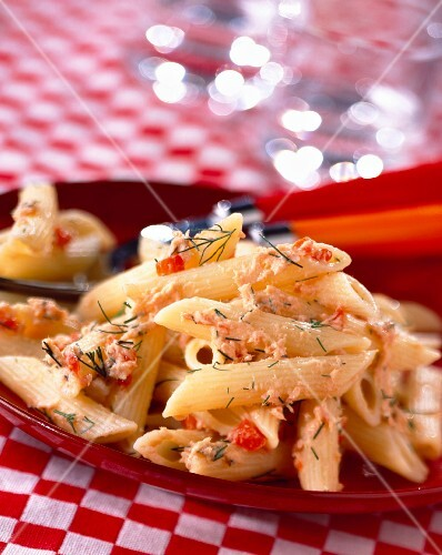 Penne pasta with potted fish
