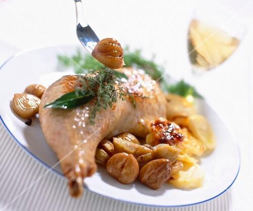 Roast turkey in white Alba truffle juice