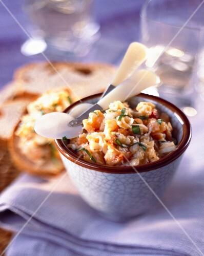 Potted seafood on crostinis
