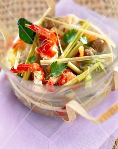 Clear prawn and lemongrass soup