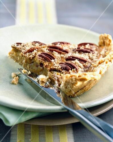 Slice of pecan tart