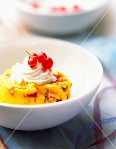 Nougat ice cream with saffron and orange peel