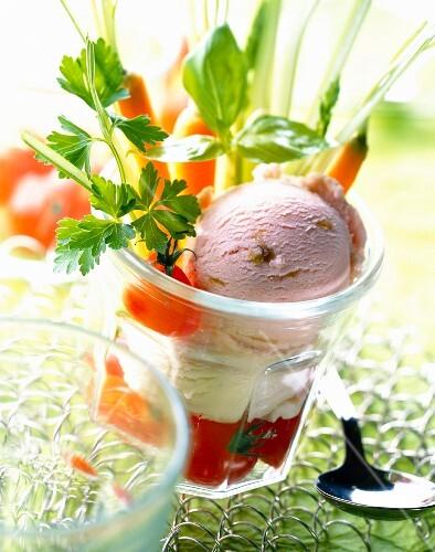 Apple and rhubarb sorbets