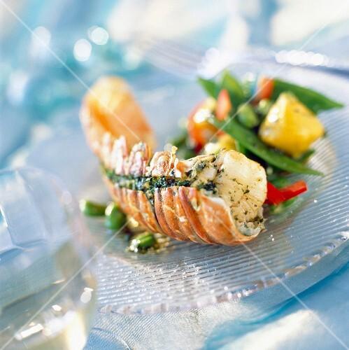 Crawfish stuffed with herbs