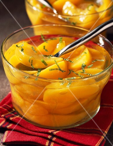 Peach soup with mint