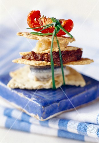 Mini layered sandwich with crispy Italian bread