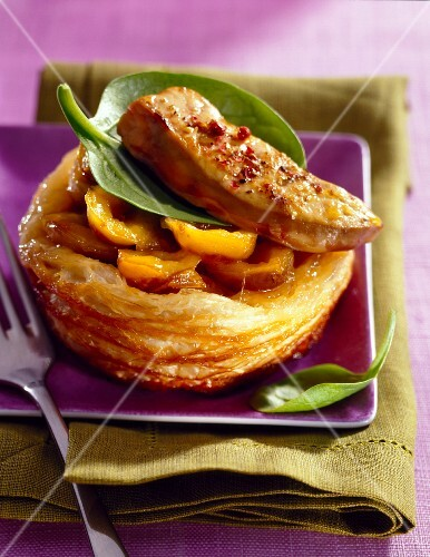 Spicy foie gras on apricot flaky pastry