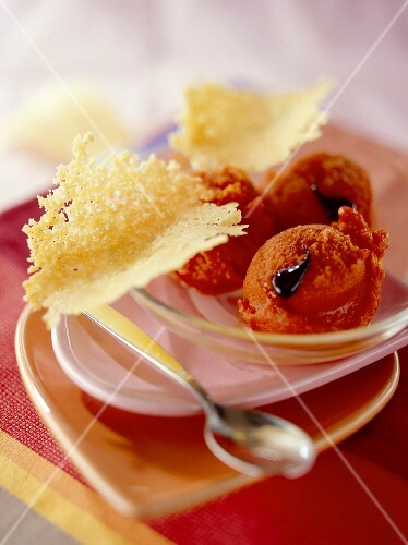 Red pepper sorbet with parmesan wafers