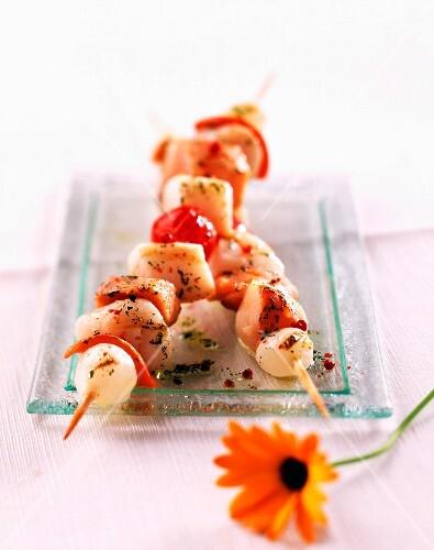Seafood kebabs