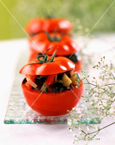 Tomatoes stuffed with mini vegetables
