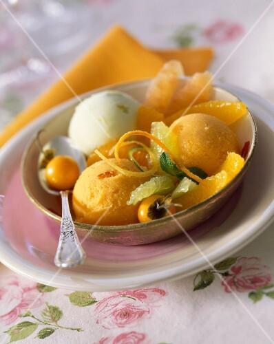 Lemon, orange and kumquat ice cream