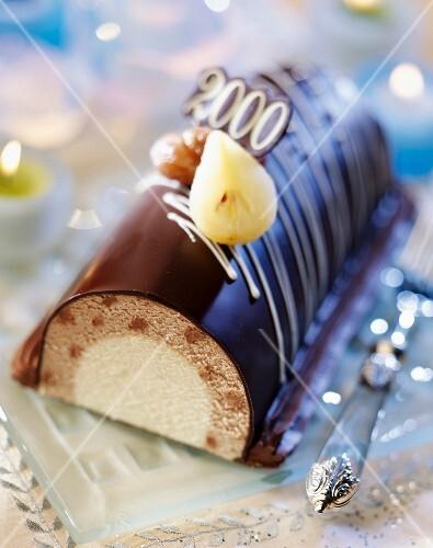 Chocolate and pear log