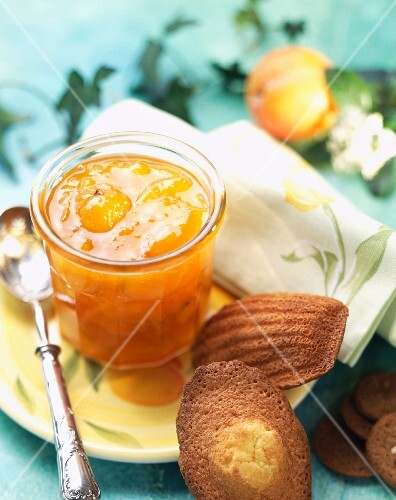 Pot of citrus fruit jam with madeleine cakes