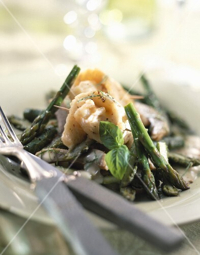 Whiting with asparagus and basil