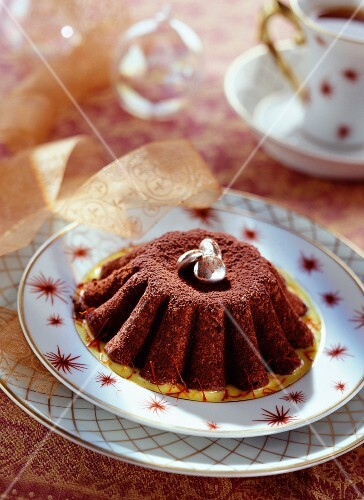 moist chocolate cake with saffron sauce