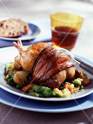 Partridge with tender cabbage, bacon and beer juice